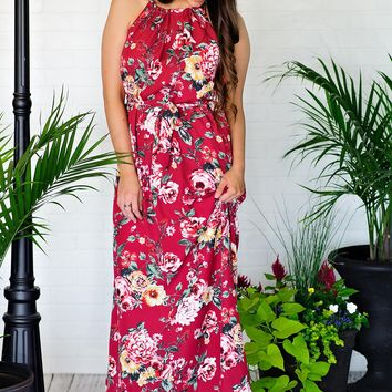 * Tea Party Floral Maxi With Tie Waist : Berry