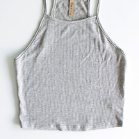 Knit Ribbed Cropped Cami - Grey