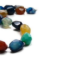 Colorblock Agate Necklace, Chunky, Gemstone, Fashion Trend, Spring, Summer, Multicolor, Rainbow