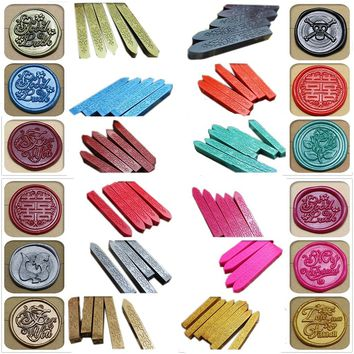 NEW 24 colors Multicolor Vintage Retro Sealing Wax Seal Dedicated Beeswax Stick Wax Strips Paint Stamp Rod Wax Grip Mount for St