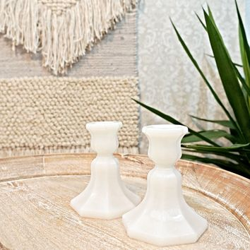 Vintage 1970s Milk Glass + Candlesticks