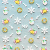 YIMEI 2012 Merry christmas holiday Snowman bells ring snowflake cloth nail decals stickers