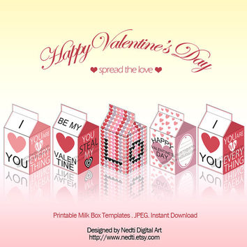Printable Milk Box Template, Valentines Day, Love, Party Supplies, Instant Download, JPEG, A4