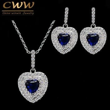 New Fashion Women Love Gift Dark Blue Cubic Zirconia Pendant Necklace And Earrings Sterling Silver 925 Jewelry Set T272