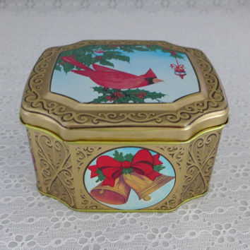 Red Cardinal Tin, Christmas Tin, Gold Holiday Tin, Rare Meister Tin, Christmas Gift Box, Holly Tin, Winter Tin, Red Bird Tin