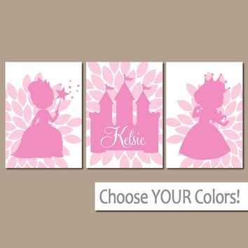 PRINCESS Wall Art, Princess Castle, Baby Girl Nursery Wall Art, Personalized Girl  CANVAS or Prints, Set of 3, Doll Decor, Gift for Girl
