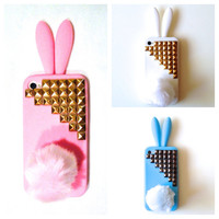 Bunny Rabbit Studded iPhone 4 4s Silicone Case by GlitzyGirlBling