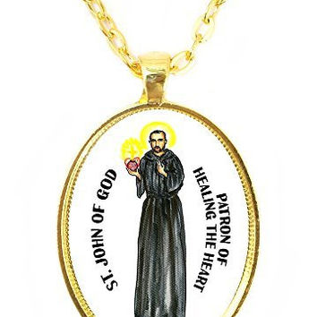 Saint John of God Patron of Healing the Heart Huge 30x40mm Handmade Gold Pendant