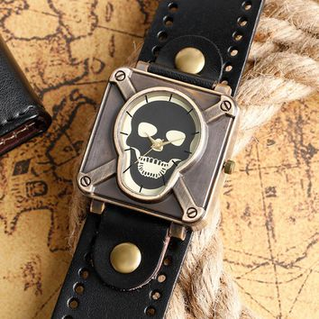 New Arrvial Retro Crossbone Gothic Dial Leather Band Strap Men Women Wrist Watch Medieval Style Terror Skull Face Watches