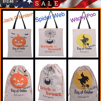Halloween Trick or Treat Bags, Candy Sacks, Drawstring or Handles just add name and choose vinyl colors, tote bag, Add Name in HTV,