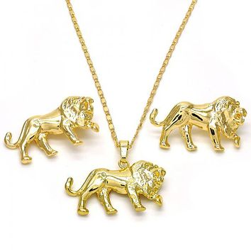 Gold Layered 10.185.0003 Necklace and Earring, Lion Design, Polished Finish, Golden Tone