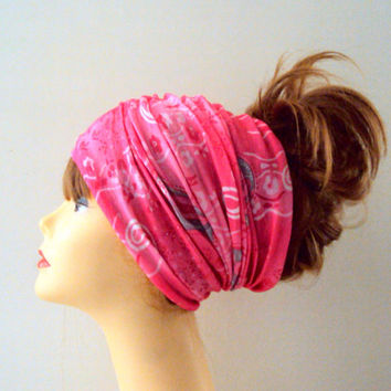 Bright Pink Paisley Head Band Women Yoga Fitness Workout Running Dancing Beach Tube Bandana Cowl Rasta Dreadlock Extra Wide Head Band