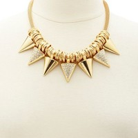 METALLIC SPIKE STATEMENT NECKLACE