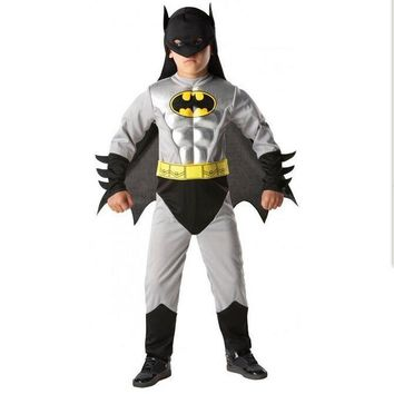 Boys Muscle Batman Costume Superhero Halloween fantasia Christmas carnival anime cosplay clothes fancy dress for kids children
