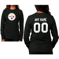 Pittsburgh Steelers Womens Custom Any Name & Number Long Sleeve T-Shirt