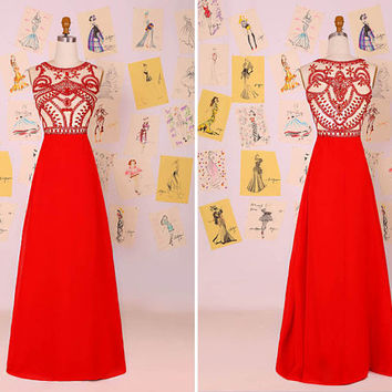New Arrival 2015 Red Beading Chiffon Long Prom Dress/Red Evening Dress/Party Dress/Red Prom Dress/Flowy Prom Dress  DAF0064