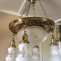 Antique Victorian Brass Chandelier Hanging Chains 5 Acid Etched Shades Large Center Bowl  1920s