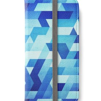 'Abstract geometric triangle pattern (futuristic future symmetry) in ice blue' iPhone Flip-Case by badbugs