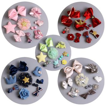 Fashion New Korean Hairpins Girls Baby Bow Set Hair Clip Pink Flower Crown Hair Accessoires Children Headband Princess PU Gift