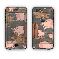 The Cartoon Muddy Pigs Apple iPhone 6 LifeProof Nuud Case Skin Set
