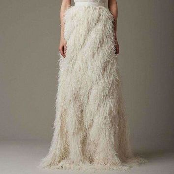 ICIKON3 Long Evening Party Ostrich Feather Skirts High End 2018 Saias Faldas Chic Floor Length Straight Female Skirt Custom Made