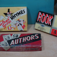 Vintage Parker Brothers Card Games . Mother Goose Rhymes 1954, The Game of Authors 1943 or Rook 1936