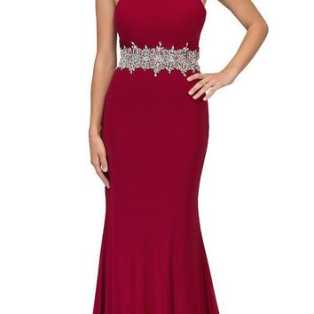 Burgundy High Beaded Neckline Long Prom Dress Cut-Out Back