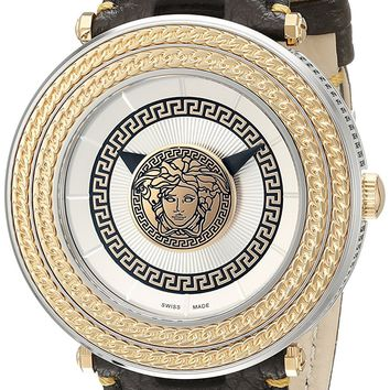 Versace Men's VQL010015 V-Metal Icon Analog Display Swiss Quartz Brown Watch