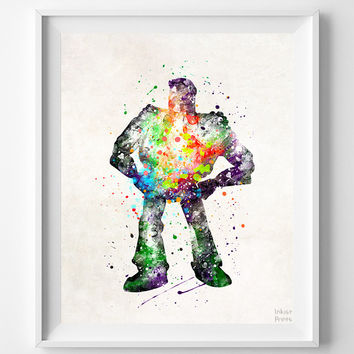 Buzz Lightyear Print, Toy Story, Disney, Type 2, Pixar, Watercolor Art, Gift, Baby, Christmas, Nursery Room, Back To School