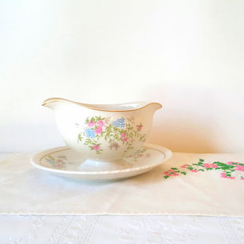Vintage German China Floral Double Lipped Gravy Boat with Under Plate Gold Pink Flowers Hanover China Spring Time Pattern China Cottage Chic