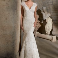 Mori Lee 2717 Lace Cap Sleeve Wedding Dress
