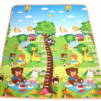New Arrive 10 mm Thickness Double sides Children Play Mat Cute Measuring Height Mat Picnic Carpet Rug Baby Crawling Mat CM-0678