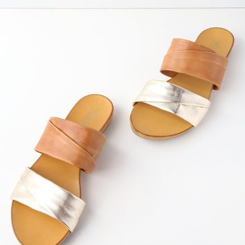 Scout Tan and Gold Leather Slide Sandals