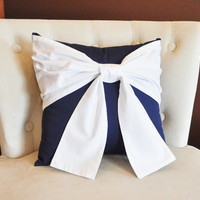 Throw Pillow White Bow on Navy Pillow 14x14 -Navy and White Pillow- Decorative Pillow-