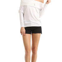 COWL NECK KNIT LONG SLEEVE TOP