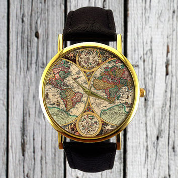 Antique World Map Watch | Old Map | Cartography | Leather Watch | Ladies Watch | Men's Watch | Gift Idea | Custom Watch | Fashion Accessory