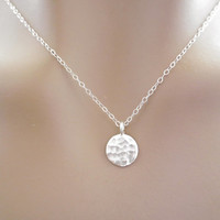 Full moon necklace, organic hammered disc necklace, circle necklace, moon necklace, moon jewelry, silver moon