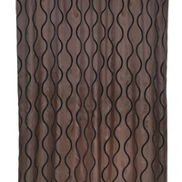 "Royal Bath Squiggly Lines Geneva Fabric Shower Curtain with Poly Taffeta Flocking in Black/Brown Size: 70"" x 72"""