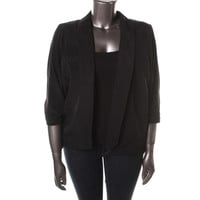 Alfani Womens Plus Shimmer 3/4 Ruched Sleeves Open-Front Blazer