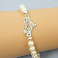 Crown Bracelet, White Pearl with Silver Rhinestone Crown Stretch Elastic Jewelry