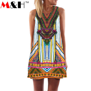 3D Print Vintage Dress 2016 Summer Sundresses for Women Beach Dress Dashiki Ladies Dresses Hippie Boho Vestidos Plus Size Casual