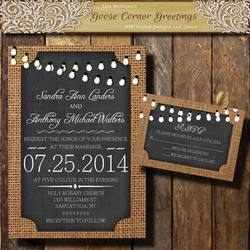 BURLAP Wedding Invitation// String Lights//Chalkboard//Rustic wedding invitations//Shower//Birthday//Baby Shower