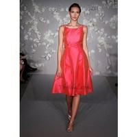 Empire Scoop Knee-Length Satin Prom Dress SEM0283