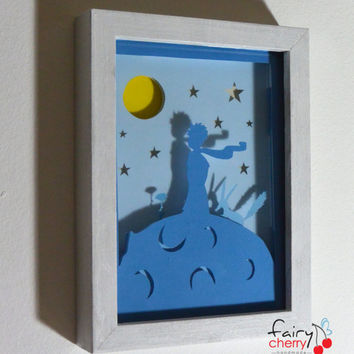 Little Prince framed hand paper cut