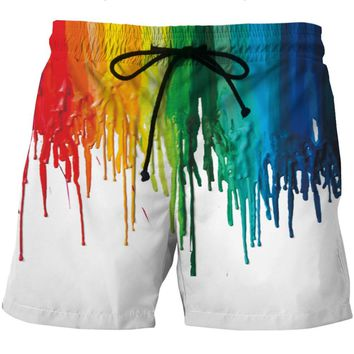 LOVE SPARK New Big Size Mens Running Shorts Colorful Painting Print Elastic Waist Jogging Running Gym White Sports Shorts 6XL