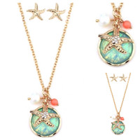 Crystal Starfish Abalone Puffy Stone Neckalce Set
