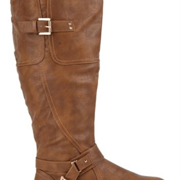 Tall Flat Wide Width Boot with Buckled Straps