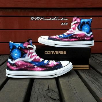 Customizable Galaxy Converse Shoes for Women Men Hand Painted Fashion Canvas Shoes The