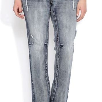 Plus Size Amethyst Bootcut Jean with Faux Leather Trim