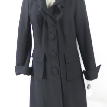 Joseph Ribkoff Black Lightweight Stretch Ruffle Collar Coat SZ 12 NEW